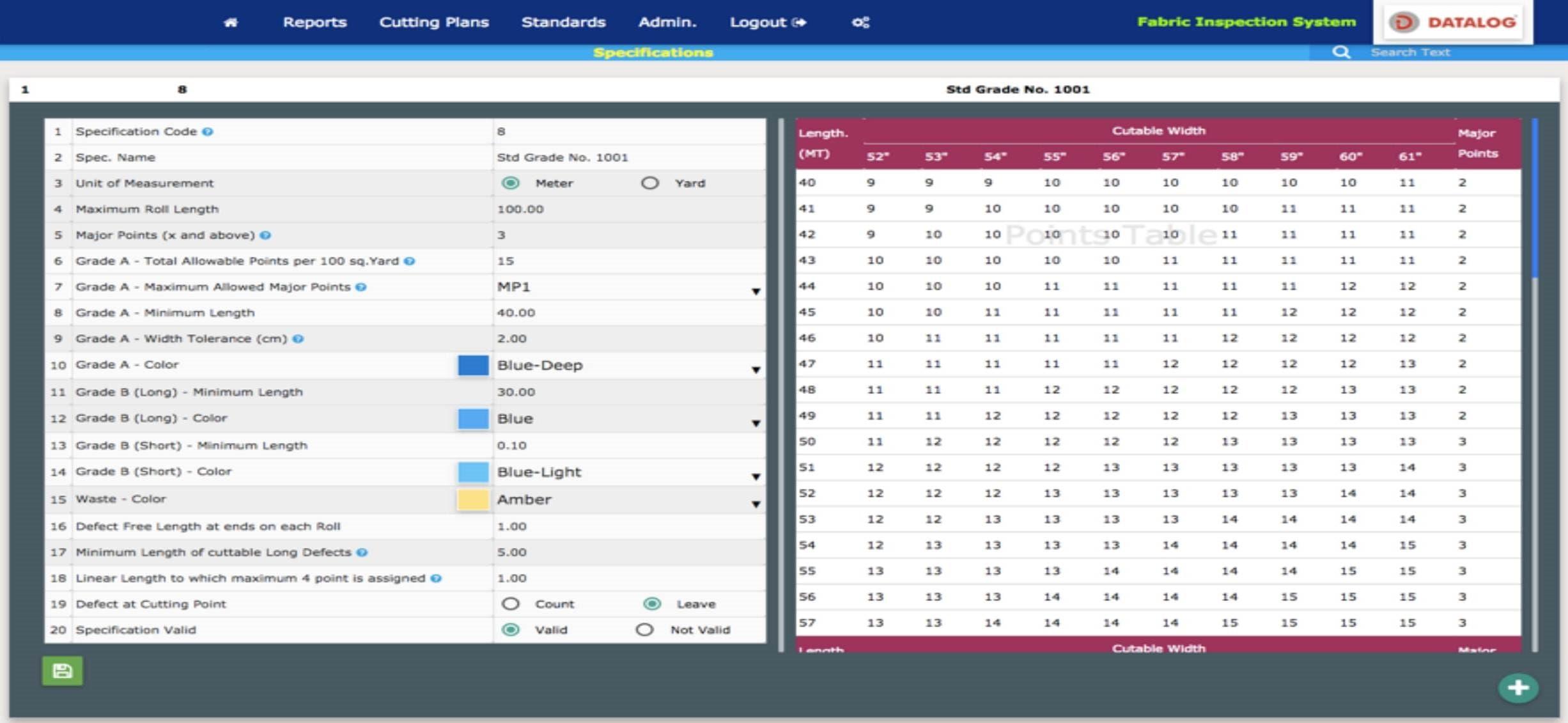 Datalog Reports - Grade Standards